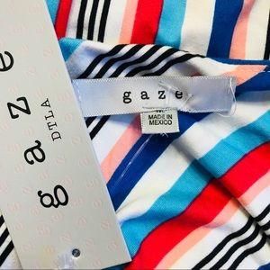 gaze Tops - NEW Gaze Sleeveless Striped Cami Bodysuit small